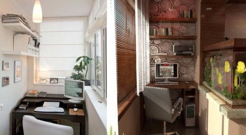 Офис на маленьком балконе