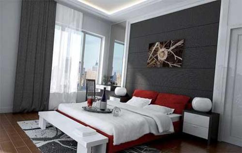 Шик и изысканность спальни в красном цвете