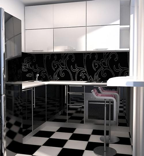 Кухни черно-белого цвета: домино на кухне