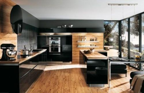 Черный цвет кухни и цвет дерева
