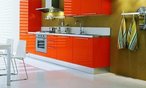 Оранжевая кухня и сочетание цветов