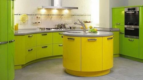 Кухня желто-зеленого цвета