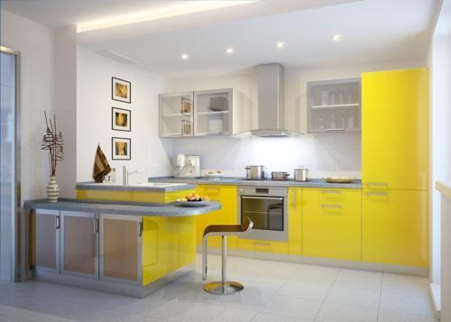 Светлый интерьер желтой кухни