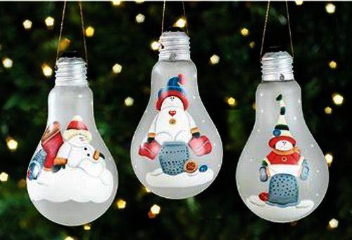 Новогодние игрушки своими руками из старых лампочек