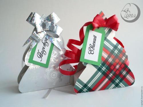 Новогодняя коробка своими руками с биркой