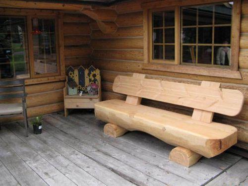 Масивная скамейка для дачи