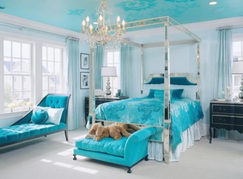 Спальня бирюзового цвета