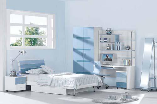 Спальня светло-голубого цвета