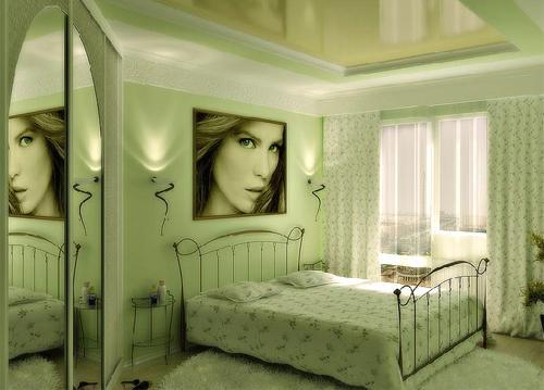 Спальня в нежно-зеленом цвете