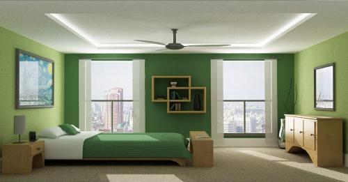 Спальня в строгом зеленом цвете