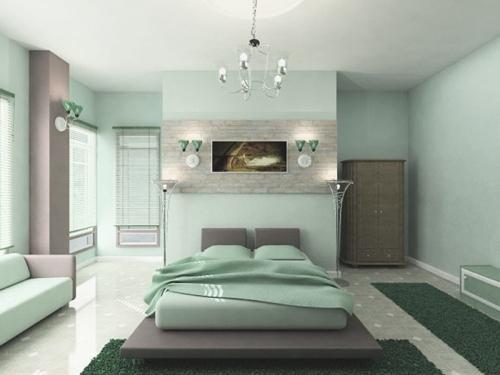 Спальня в холодных оттенках зеленом цвете