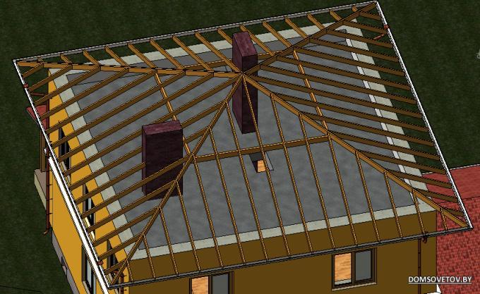 Стропила четырехскатной крыши