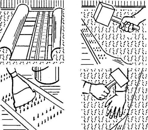 Укладка ковролина способом натяжения