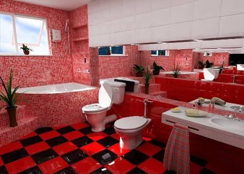 Ванная комната в красном цвете - это модно и стильно