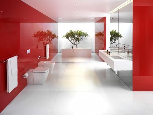 Особенности дизайна ванной комнаты в красном цвете