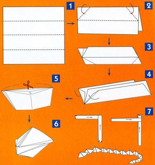 Схема изготовления змеи своими руками из бумаги