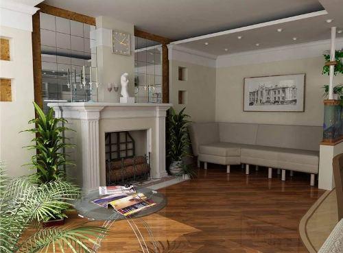 Интерьер гостиной с камином. Фото 3