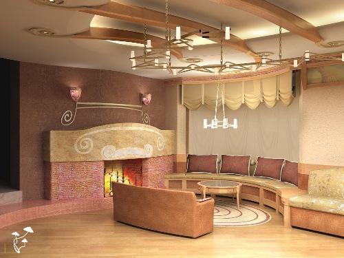 Интерьер гостиной с камином. Фото 5