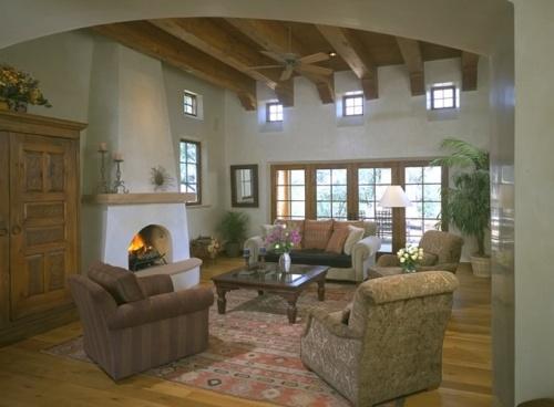 Интерьер гостиной с камином. Фото 2