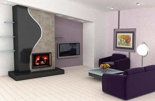 Интерьер гостиной с камином. Фото 4