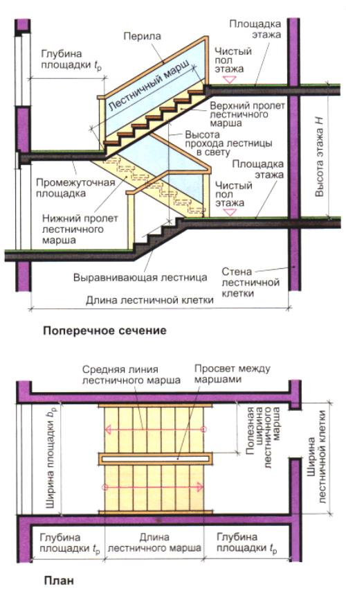 Определяем размеры лестницы
