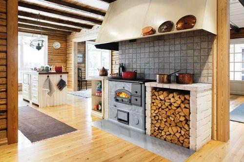 Камин в интерьере кухни. Фото