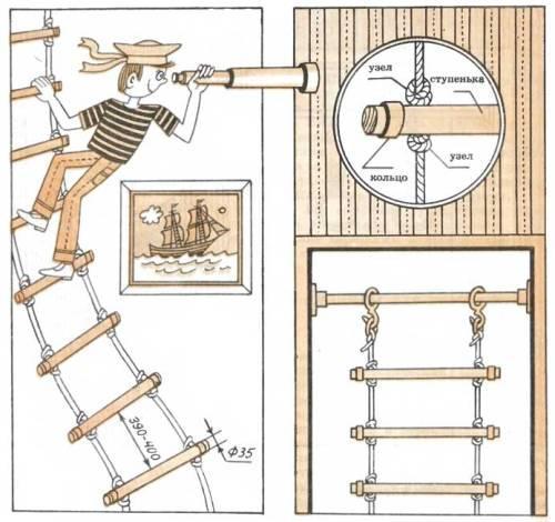 Веревочная лестница для ребенка своими руками