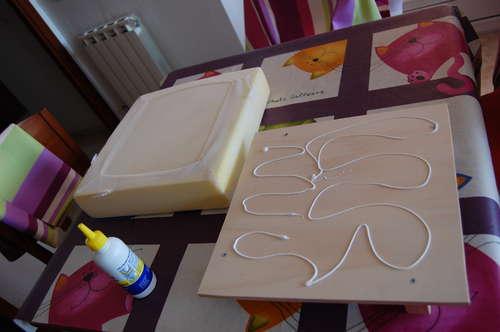 Изготовление крышки пуфа