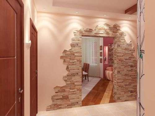 Декоративный камень в интерьере квартиры. Фото 5