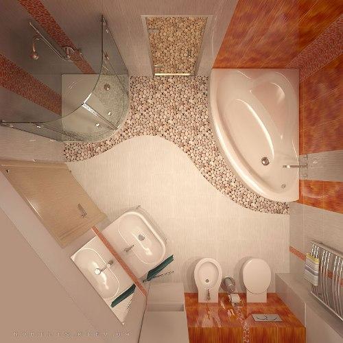 Дизайн маленькой ванной комнаты. Фото 2