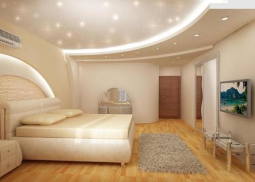 Дизайн многоуровневых потолков в спальне