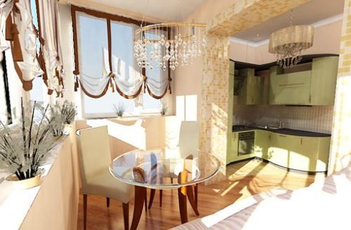 Интерьер кухни с балконом: больше, просторней, функциональней