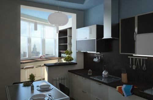 Интерьер кухни с балконом. Фото 5