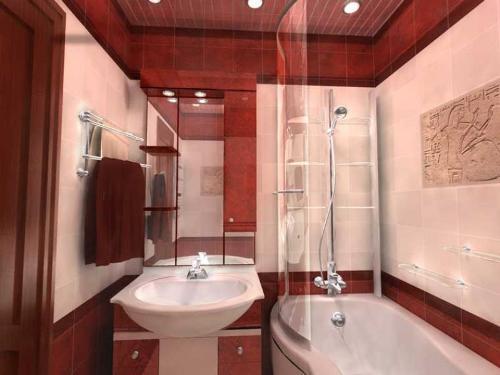 Интерьер маленькой ванной комнаты. Фото 11