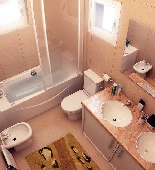 Интерьер маленькой ванной комнаты. Фото 8