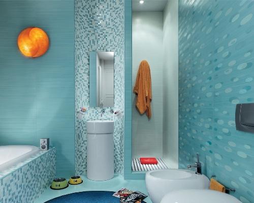 Кафель в интерьере ванной комнаты. Фото 11