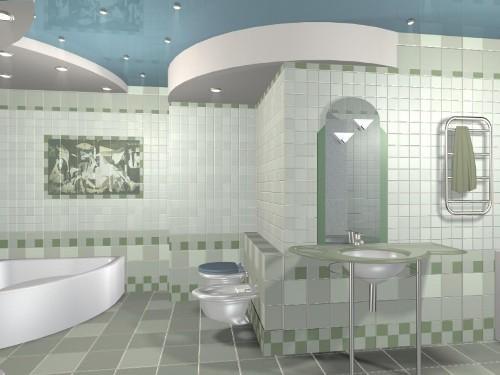 Кафель в интерьере ванной комнаты. Фото 7