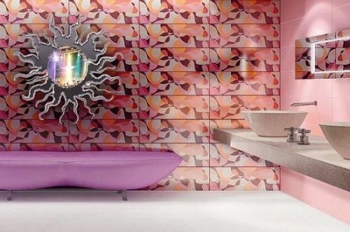 Кафель в интерьере ванной комнаты. Фото 9