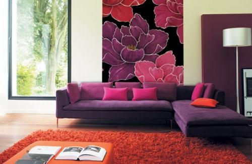Обои для гостиной с цветами
