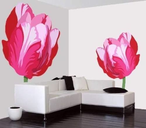 Обои на стену с цветами в интерьере комнат