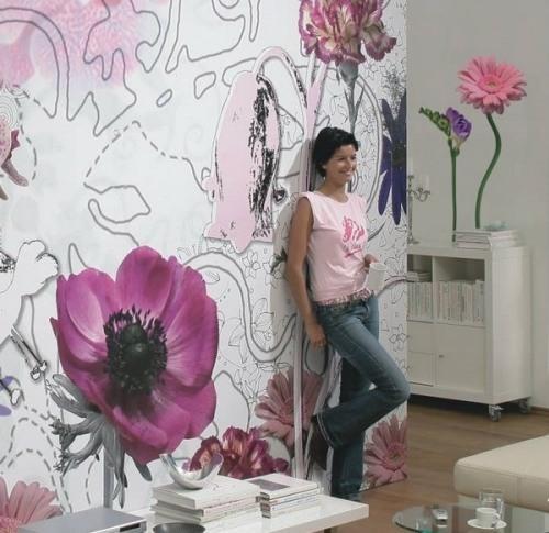 Обои на стену с цветами. Фото
