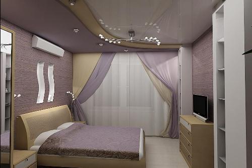 Спальня в фиолетовых тонах для мужчин
