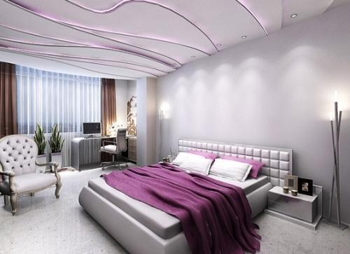 Детали в фиолетовой спальне