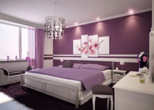 Спальня в фиолетовых тонах. Обои