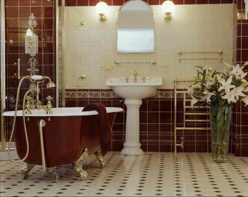 Английский стиль в интерьере ванной. Фото