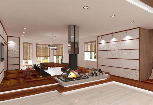 Открытый дизайн интерьера в японском стиле