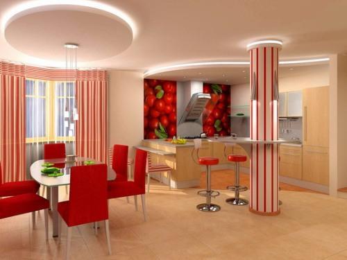 Дизайн потолков на кухне. Фото 10