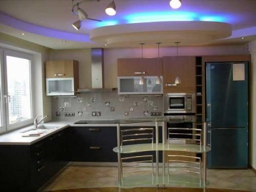 Дизайн потолков на кухне. Фото 12
