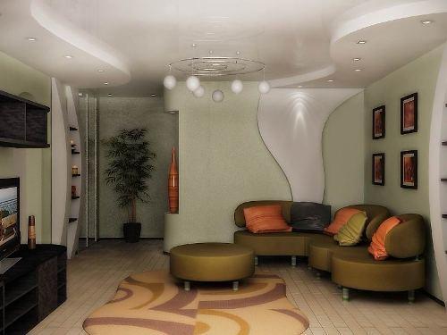Дизайн потолков в гостиной. Фото 13