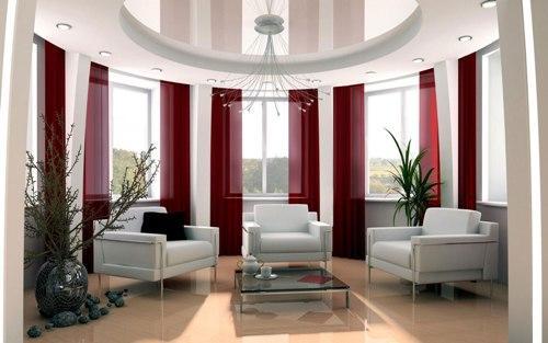 Дизайн потолков в гостиной. Фото